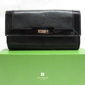 NIB auth KATE SPADE black leather WALLET $298